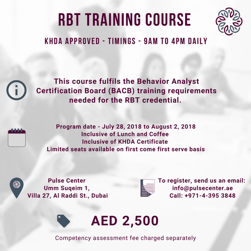 Pulse-RBT Training Course - KHDA Approved - Daily 9AM to 4PM